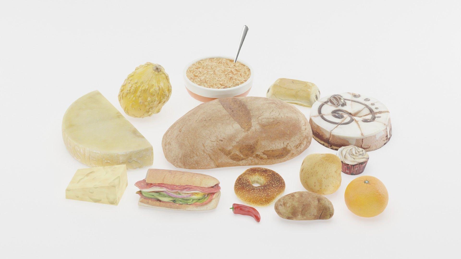 食物,面包,三明治,辣椒,土豆,奶酪3D模型