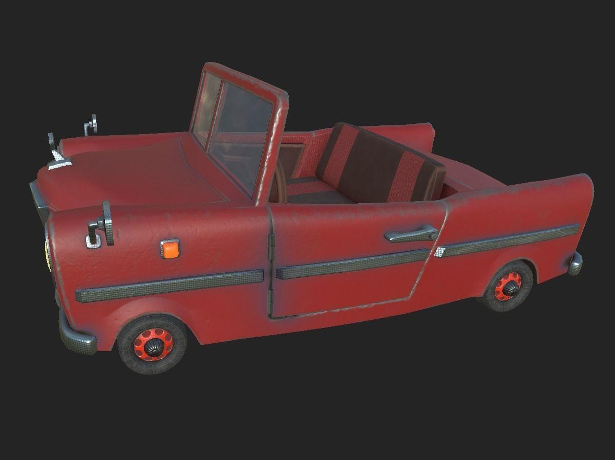 红色卡通小汽车,轿车3D模型