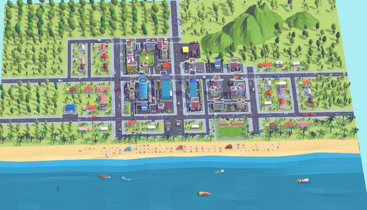 卡通low poly风格城市场景3D模型